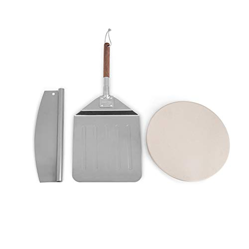Royal Gourmet KSF1204 Three Piece Pizza Stone Set for Grill and Oven with 12-Inch Cordierite Stone, Peel and Pizza Cutter, Baking Tool, FDA Certified