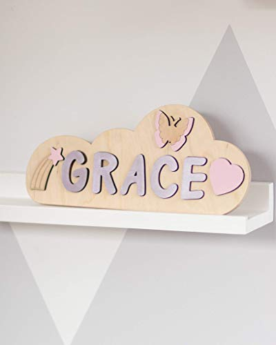 Cloud Wooden Name Puzzle Girl Toy for Toddler Baby Gift Personalized 1st Birthday Baby Girl Montessori Toys Baby Shower Gift Nursery Decor