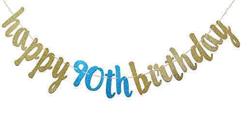 Happy 90th Birthday Banner Glitter Party Bunting - 90th Birthday Party Decorations (Gold & Blue)]()