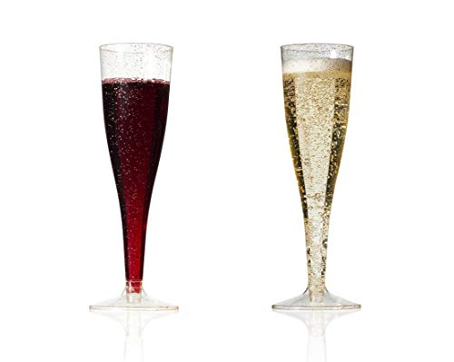 Affairware Gold Glitter Plastic Champagne Flutes | Wine Toasting Glasses for Weddings and Parties | 50 Premium Disposable Recyclable Cocktail Cups