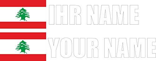 INDIGOS - Sticker Decal - Lebanon - Font White - foil - car, Folder, Motorcycle, Bike, Wall, Door, Fridge etc - 360x72 mm - Personalized Flag Name Individually