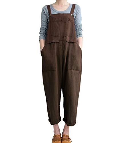 Aedvoouer Women's Baggy Plus Size Overalls Cotton Linen Jumpsuits Wide Leg Harem Pants Casual Rompers (Z-Coffee, S)
