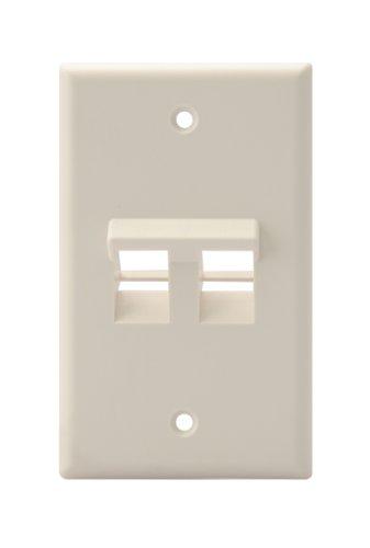 Leviton 41081-2TP Angled QuickPort Wallplate 2-Port, Single Gang, Light Almond ()