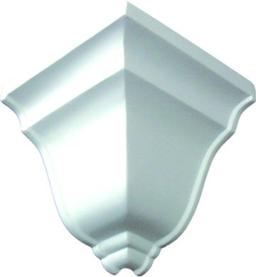 (D15 Decorative Outside Corner Block for Crown Molding 4 Inches high and 5 1/4 Inch Projection Primed White Polyurethane)
