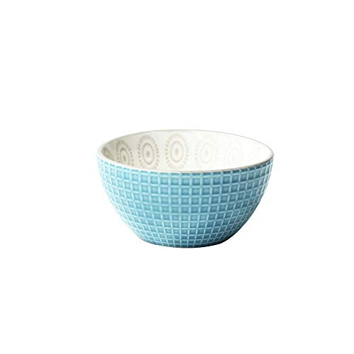 Rice Sky Bowl - Creative hand-painted embossed glazed ceramic rice bowl hotel restaurant home small rice bowl salad bowl porridge bowl sky blue 11.5x6.3cm