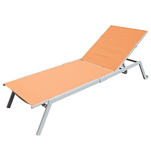 Outdoor Patio Chaise Lounge Chair Adjustable Textilene for Beach Yard, 5 Reclining Positions by Supernova (Orange)