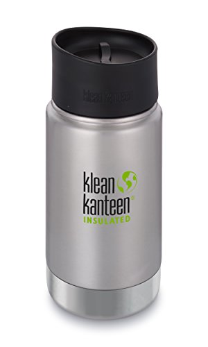 Klean Kanteen 12oz Wide Mouth Stainless Steel Coffee Mug, Double Wall Vacuum Insulated with Leak Proof Café Cap 2.0 - Brushed Stainless (NEW -