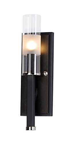 Wall Sconces 1 Light Bulb Fixture with Black and Wenge Finish Steel and Wood and Glass Material G9 Bulbs 4 inch 40 -