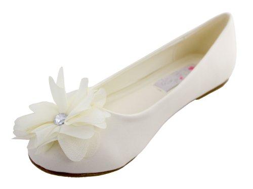 Matte Satin Rhinestone Shoe (Cinderella Shimmer Flats (Childrens 1, Ivory))