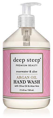 Deep Steep Argan Oil Liquid Hand Wash, 17.6 Ounce (Rosewater Aloe)