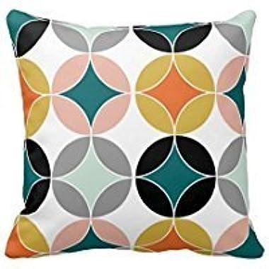 Maliyna Stylish Modern Mid Century Circles Repeat Pattern Throw Pillowcase 18x18 Inches