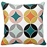 Maliyna Stylish Modern Mid Century Circles Repeat Pattern Throw Pillowcase 18x18 Inches