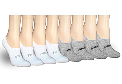 Saucony Women's 8-Pair No Show Cushioned Invisible Liner Socks, White/Grey, Shoe Size: 5-10