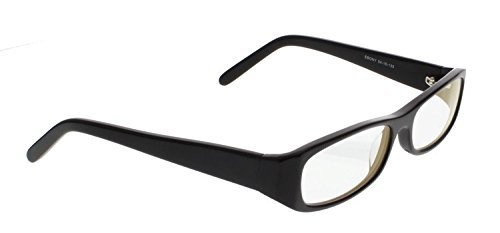 NIGHT DRIVING GLASSES WITH CLEAR POLYCARBONATE DOUBLE SIDED ANTI-REFLECTIVE COATING, SCRATCH COATING AND UV PROTECTION - BLACK PLASTIC FRAME - 54-16-135. by Sheer - Glass Plastic Vs