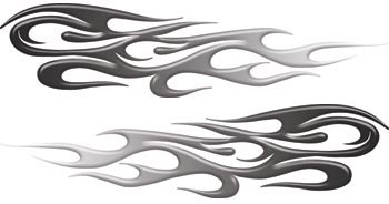 - Black to White Fade Tribal Flame Decals Motorcycle, Truck, Car, ATV, etc. - 2