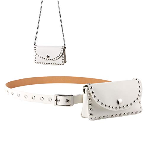 HZMAN Flap Crossbody Bags Metal Spike Studded Leather Fanny Pack for Women Chain Belt Bag
