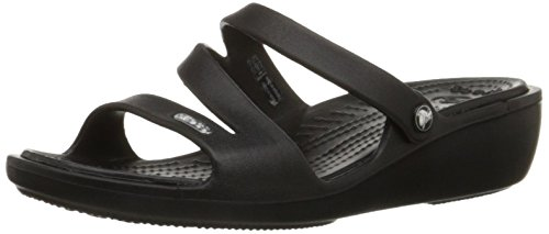 crocs Women's Patricia Mini Wedge,Black/Black,8 M