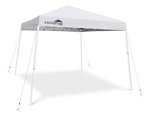 EAGLE PEAK 10′ x 10′ Slant Leg Pop-up Canopy Tent Instant Outdoor Canopy Easy Set-up ...