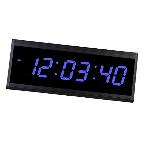 Flameer Digital LED Wall Clock, Extra Large Time Display, Plug-in Clock, Red/Green/Blue, 18.90''x 7.48'' x 1.57'' - Blue