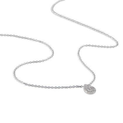 HISTOIRE D'OR - Collier Or Blanc Goutte et Diamants 40cm - Femme - Or blanc 375/1000 - Taille Unique