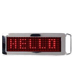 Programmable Scrolling Red LED Chrome Belt Buckle - Custom Belt Buckle