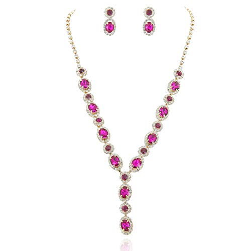 SP Sophia Collection Fancy Double Halo Y Jewelry Oval Drop Necklace and Earrings Set in Gold Fuchsia