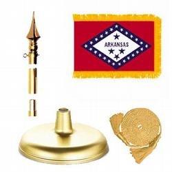 Arkansas Flag Flag Kit Nylon Pole Hem and Fringe 8 ft x 1-1/4 in Aluminum Brass Pole Cast Iron Base Plastic Spear 3 ft x 5 ft (Cast Iron Spear)