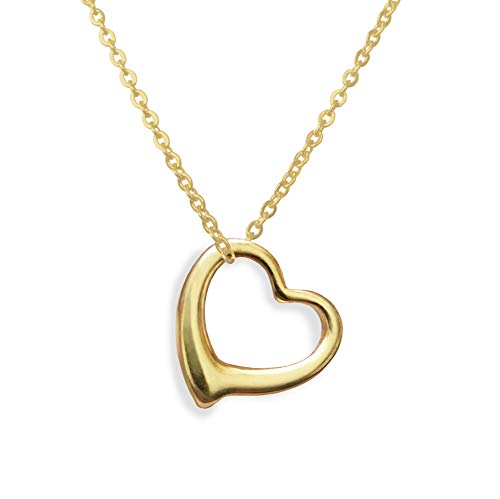 Altitude Boutique Open Heart Necklace for Women (Gold, Rose Gold, Silver) (Gold) (Pendant Heart Gold Necklace)