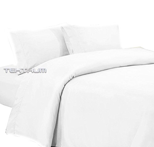 Brushed Polyester Cover (Tektrum Duvet Cover Set 3 Piece 3pc including 1 Duvet Cover & 2 Pillow Shams - 1800 Supreme Collection - 100 GSM Microfiber - Super Soft/Top quality/Luxury/Durable Fabric - White)