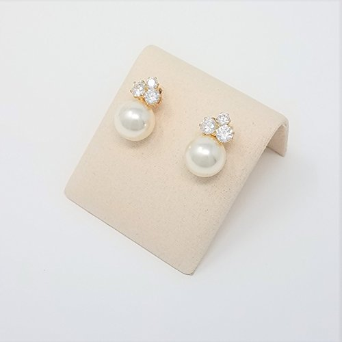 Bridesmaid Gifts - Elegant Pearl & Triple CZ Earrings (8mm, Simulated Pearl) by Bride Dazzle (Image #4)
