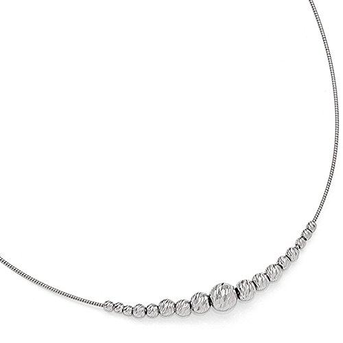 Diamond Cut Graduated Bead Necklace in Sterling Silver, 16-18 Inch by The Black Bow