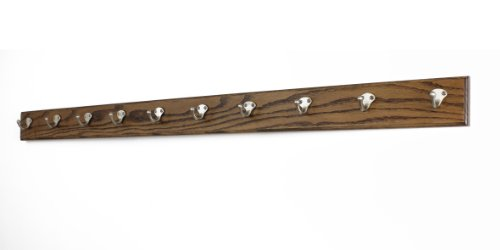 Oak Coat Rack with Satin Nickel Single Style Hooks (Walnut, 52'' x 3.5'' with 10 hooks) by PegandRail