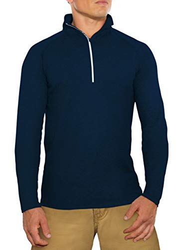 CC Perfect Slim Fit Quarter Zip Pullover Men | Quick Dry Fit Tech Performance | Moisture Wicking Long Sleeve 1/4 Zip Up for Men, Large, Navy Blue