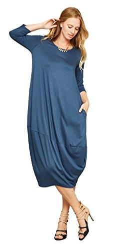 Tabeez Women's Casual 3/4 Sleeve Oversized Bubble Jersey Shift Midi Dress (Large,...