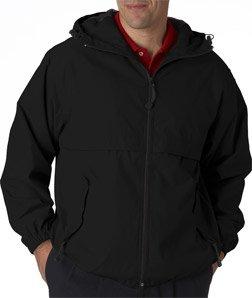 (UltraClub Adult Microfiber Hooded Zip-Front Jacket, Small, Black)