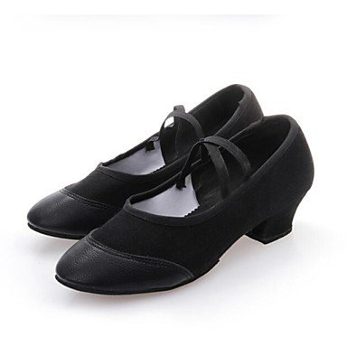Women's Dance Schuhe moderne Leder/Canvas flachem Absatz Schwarz/Rot US9.5-10 / EU41 / UK7.5-8 / CN42
