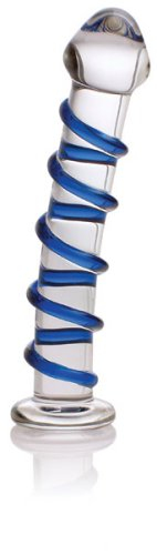 Don Wand Glass Pleasure Wand, Swirl Mushroon Tip Rocket, Blue