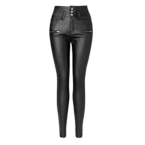 "Ecupper Womens Black Faux Leather Pants High Waisted Skinny Coated Leggings Fleece Lined 29"" Inseam-Regular L-38"