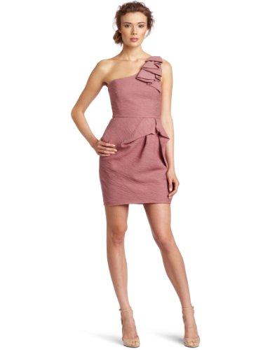 BCBGMAXAZRIA Women's Audrey One Shoulder Short Dress, Dusty Rose, 12