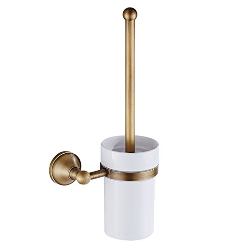 SODIAL Antique Brass Bathroom Toilet Brush Set Holder Brush with Ceramic Cup by SODIAL