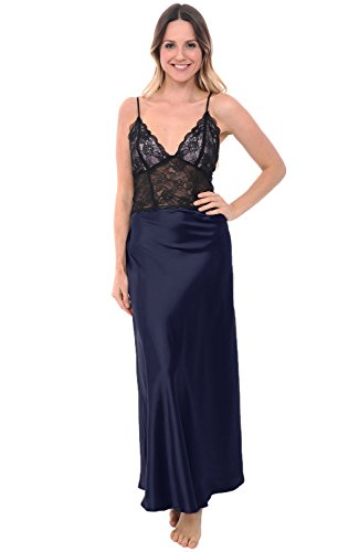 Del Rossa Women's Satin Nightgown, Full Length Camisole Chemise with Lace, Medium Midnight Blue (A0780MBLMD)