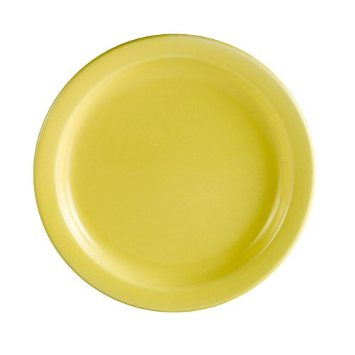 CAC China L-16NR-Y Las Vegas Narrow Rim 10-1/2-Inch Yellow Stoneware Plate, Box of 12