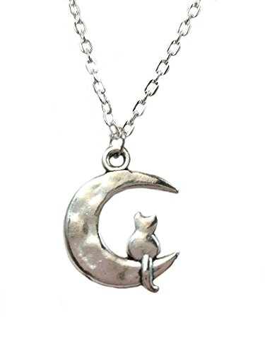 Silver Cat Necklace Kitty on The Crescent Moon Pendant Necklace Fashion Jewelry for Women Girls (Cat Woman Costume Ideas)