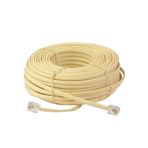 Chengshang Long Home 50 Ft Feet 4C Modular Telephone Extension Phone Cord Cable Line Wire Ivory