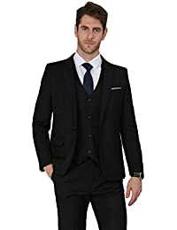 cb66aa1fb0b0 Men's 3 Pieces Suit Elegant Solid One Button Slim Fit Single Breasted Party  Blazer Vest Pants