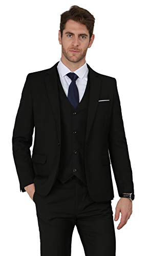 MAGE MALE Men's 3 Pieces Suit Elegant Solid One Button Slim Fit Single Breasted Party Blazer Vest Pants Set, Black, Medium ()
