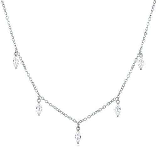 White Circle Pearl Station Necklace (Carleen 18K White Gold Plated 925 Sterling Silver Marquise Cut CZ Cubic Zirconia Dainty Chain Necklace for Women Girls, 15.75