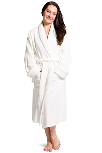 Fishers Finery Women's Premier Turkish Style Terry Spa Robe Bathrobe; (SM) White