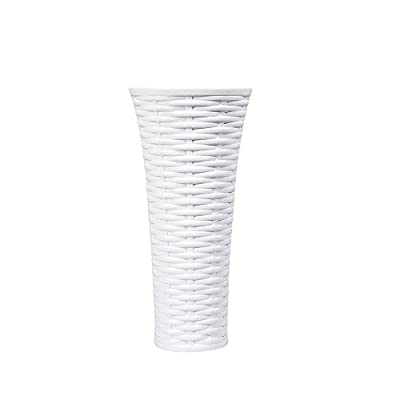 D'vine Dev 6'' Small Pure White Ceramic Vase - Cone Shaped - Knitting Textured Design – Color It or Left White - D'VINE DEV - D'vine Dev branded ceramic vase products, professional ceramics development and engineering team. METERIAL-Made with high quality white porcelain. SPECIFICATIONS - Height 6'' - Top Diameter 2.8'' - Bottom Diameter 1.8'' - Vase Weight: 8 Ounces. - vases, kitchen-dining-room-decor, kitchen-dining-room - 31qgP8DRCNL. SS400  -