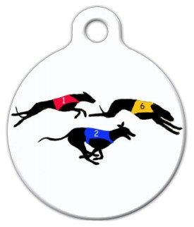 Greyhound Race - Greyhound Race - Custom Pet ID Tag for Dogs and Cats - Dog Tag Art - LARGE SIZE